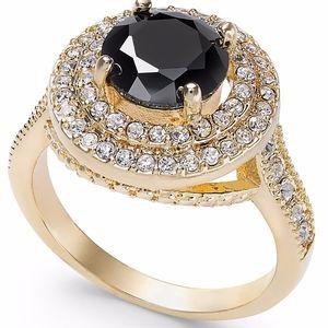 ✨ Gold-Tone Pavé Crystal Stone Halo Ring